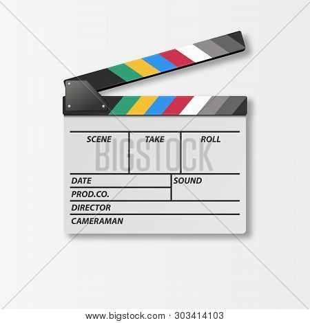 Vector 3d Realistic Opened Movie Film Clap Board Icon Closeup Isolated On White Background. Design T