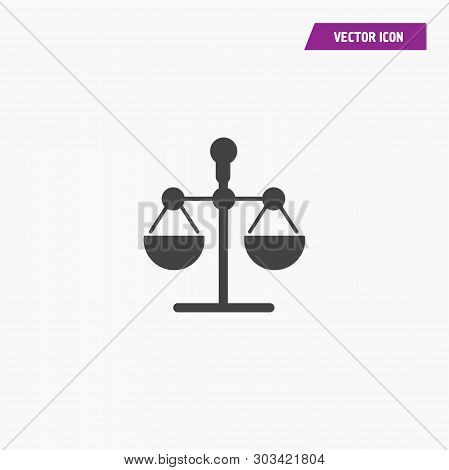 Black law scale vector icon, justice symbol. Modern, simple flat vector illustration for web site or mobile app - Vector stock photo