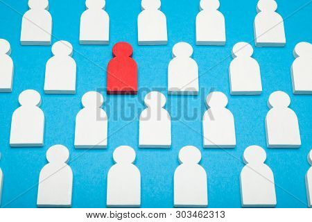 Job search and goal. Experience ability. Blue background stock photo