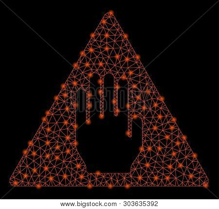 Bright mesh alert with glare effect. Shiny wire frame polygonal mesh in vector format on a black background. Abstract 2d mesh built from triangular lines, spheric points, glowing glare spots. stock photo