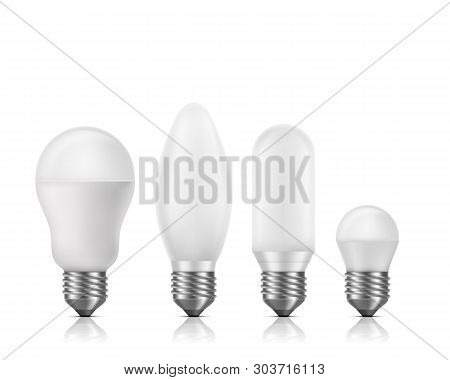 Different shapes and size, fluorescent or LED light bulbs with white matt glass and E27 base 3d realistic vector set isolated on white background. High efficient, longer lifespan lamps illustration stock photo