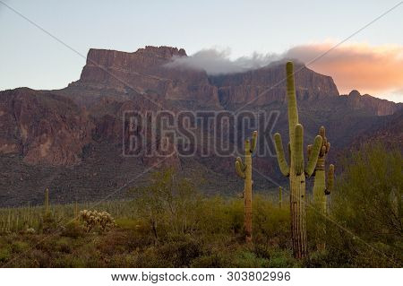 The Superstition Mountains of Arizona in morning light with Saguaro cactus and clouds. stock photo