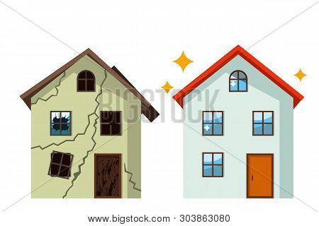 An old, ruined house in cracks with broken glasses and a renovated beautiful country cottage. concept before and after repair. flat vector illustration stock photo
