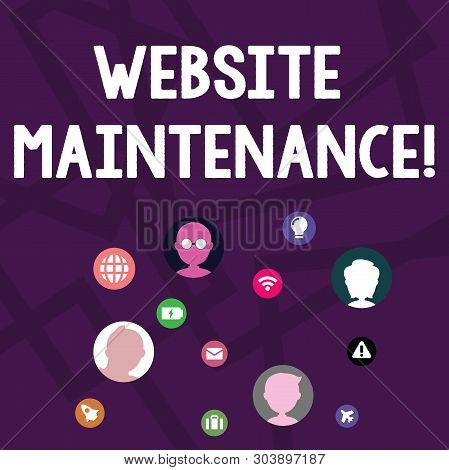 Text sign showing Website Maintenance. Conceptual photo act of regularly checking your website for issues Networking Technical Icons with Chat Heads Scattered on Screen for Link Up. stock photo