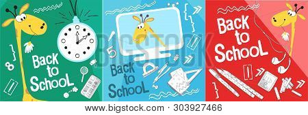 Set Back To School Vector Illustration. Style Comics Cartoon About School. For The Youngest Children