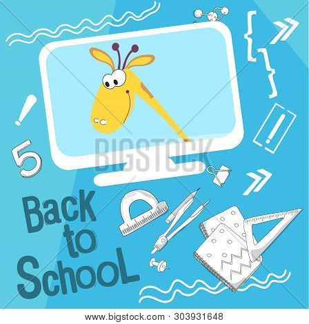 Back To School Vector Illustration. Style Comics Cartoon About School. For The Youngest Children. Gi