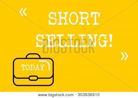 Word writing text Short Selling. Business concept for Act of selling an asset that you do not currently own Brief Case Attache Case against Empty Copy Space with Quotation Marks. stock photo
