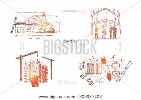 House planning, construction site safety check, architectural project approval, building industry banner. Architect profession, engineers in helmets concept sketch. Hand drawn vector illustration stock photo