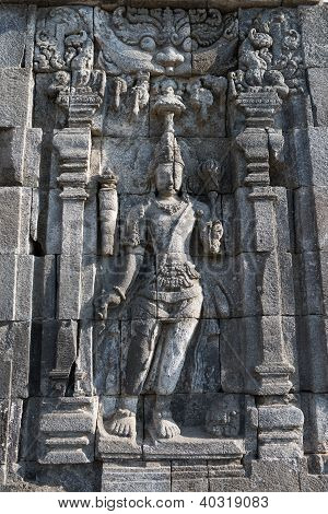 Images of Boddhisattva on wall of Perwara (guardian) temple in Candi Sewu complex (means 1000 temples). It has 253 building structures (8th Century) and it is the second largest Buddhist temple in Java Indonesia. stock photo