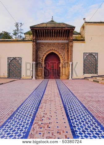 Entrance of the Sultan Moulay Ismail Mausoleum in Meknes Morocco Africa stock photo