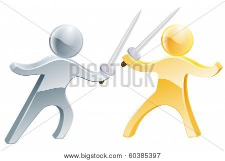 Fencing concept of two people fighting with swords concept fo competition or similar stock photo
