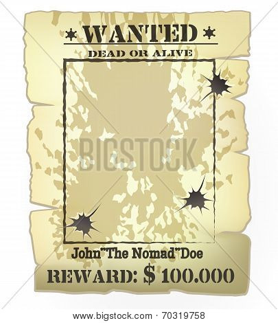 Vector vintage western wanted poster frame with bullet holes stock photo