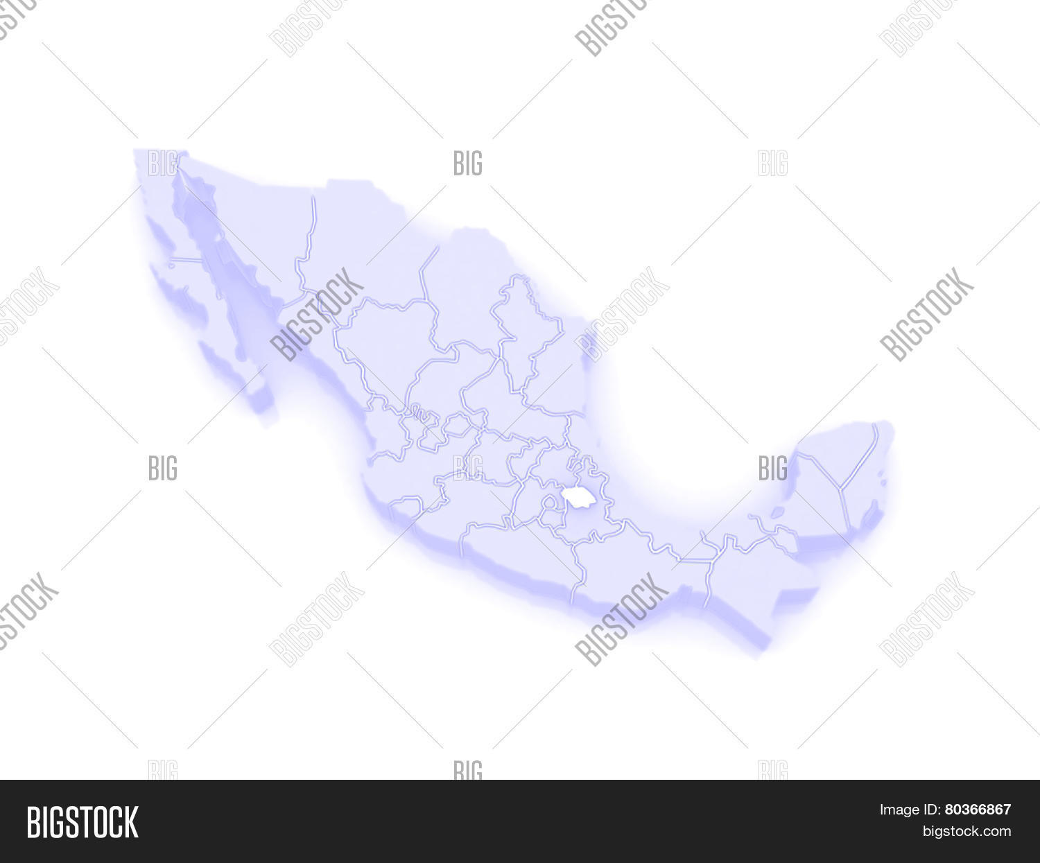Map Of Tlaxcala Mexico 3d