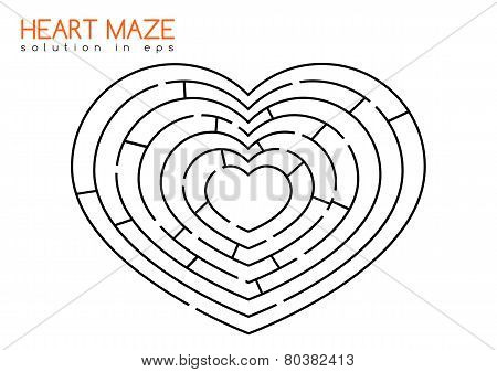 Isolated maze in the shape of heart with solution in hidden layer of eps stock photo