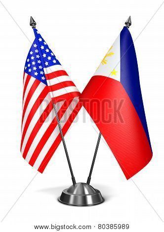 USA and Philippines - Miniature Flags Isolated on White Background. stock photo