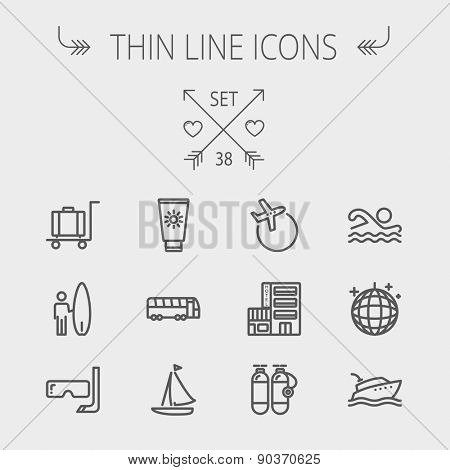 Travel thin line icon set for web and mobile. Set includes- yacht, oxygen tank, snorkel with mask, luggage, hotel, sailboat, plane icons. Modern minimalistic flat design. Vector dark grey icon on stock photo