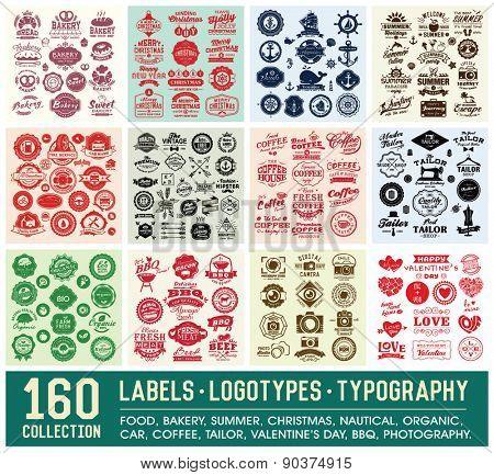 160 Labels and Logotypes design set. Retro Typography design. Badges, Logos, Borders, Arrows, Ribbon