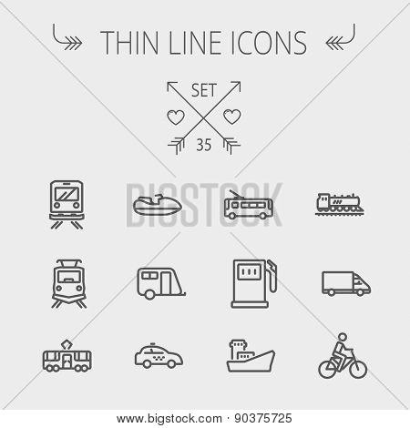 Transportation thin line icon set for web and mobile. Set includes- gas pump, vessel, car, train, bu