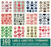 160 Labels and Logotypes outline set. Retro Typography outline. Identifications, Logos, Borders, Arr