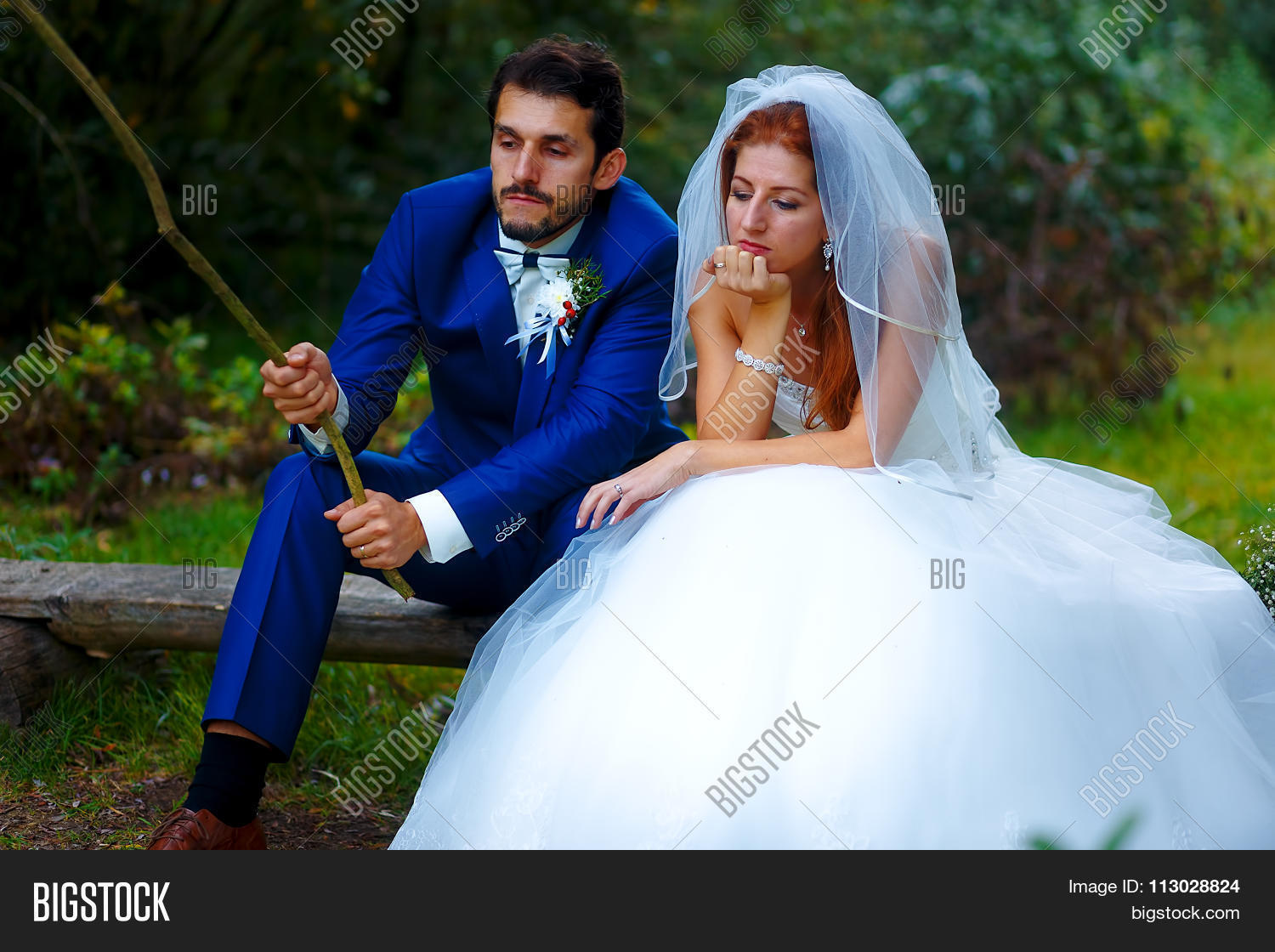 bride and groom fishing together - romantic wedding concept