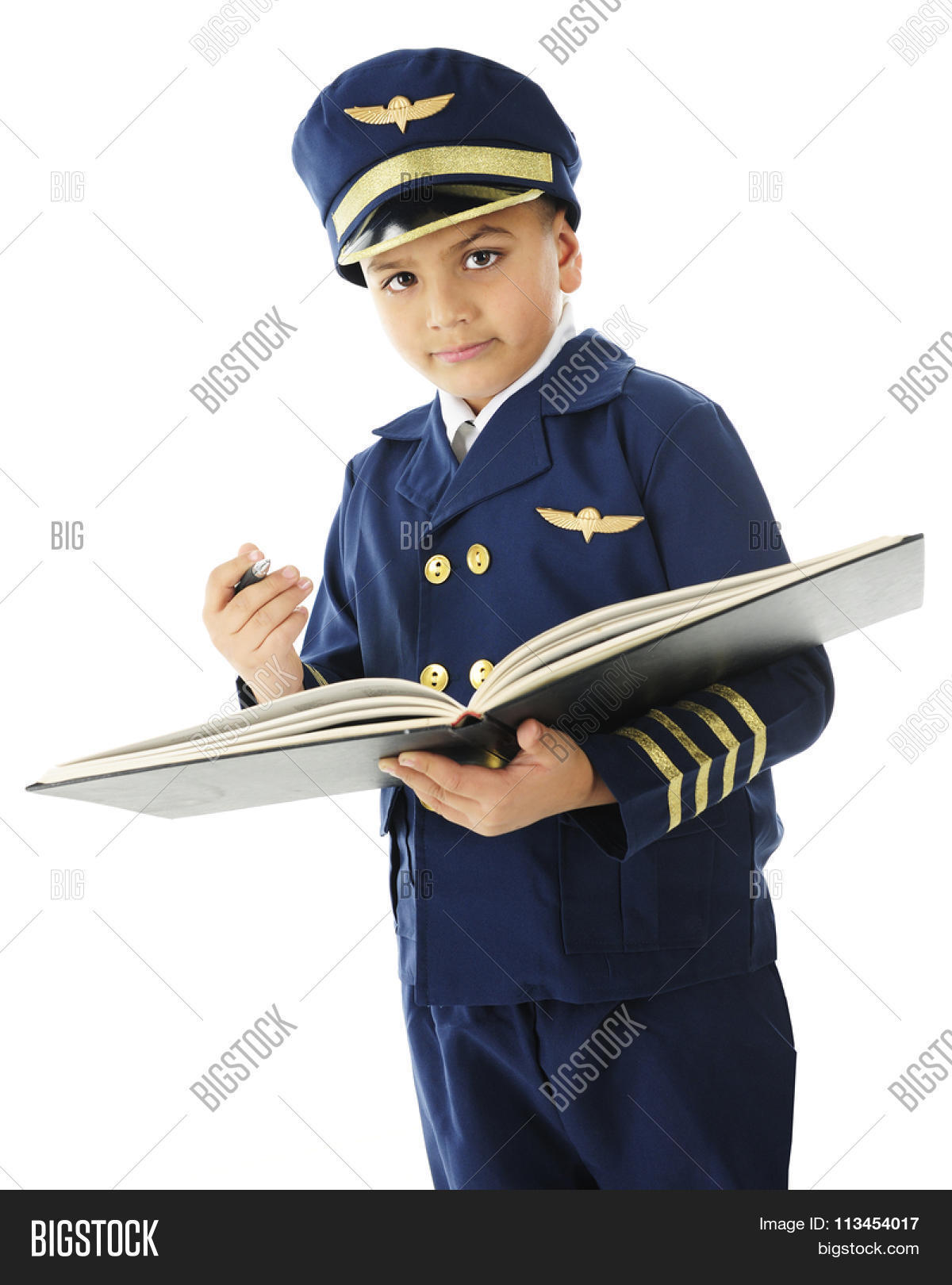 airline,background,black,blue,book,boy,buttons,child,elementary,gold,handsome,hat,holding,isolated,jacket,kid,logbook,male,navy,on,opened,pen,person,pilot,prepared,signing,standing,stripes,uniform,white,wings