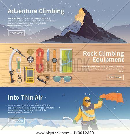 Climbing vector flat web banners
