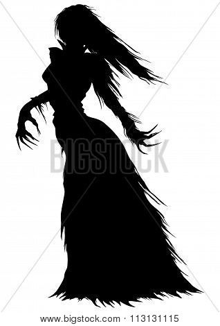 Abstract woman with long hairs and curved fingers in a ball gown with ragged edges stock photo