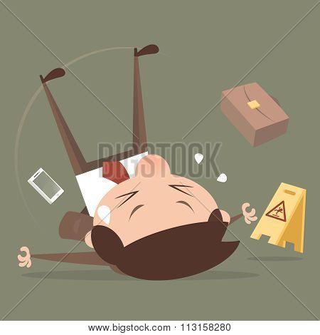 Businessman slipping, cartoon vector, illustration, EPS 10 stock photo