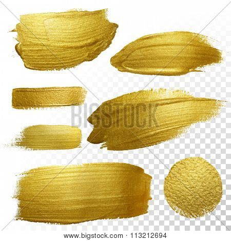 Vector gold paint smear stroke stain set. Abstract gold glittering textured art illustration. Abstra