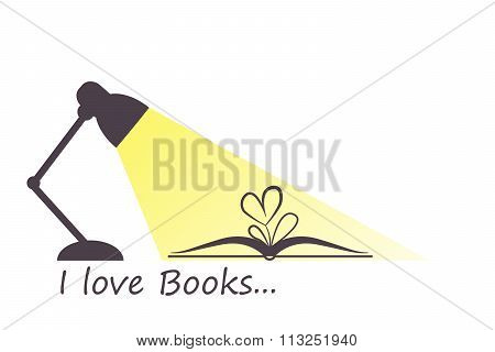Open book, heart flower and turned on lamp in flat style. I love books and reading concept. Vector illustration in eps8 format. stock photo