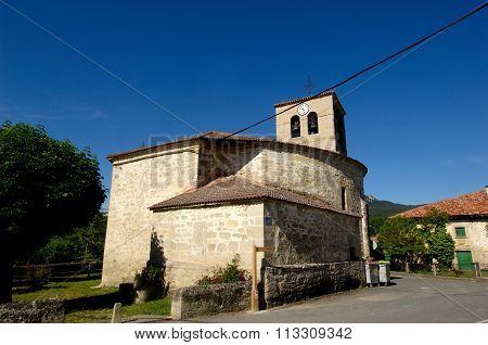 Church of Espejo, Alava, Basque Country, Spain stock photo