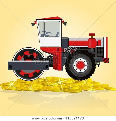 Red and white big roller builds roads. Rolling og golden coins. Digging of sand, coal, waste rock and gravel. Big professional steamroller - roadroller. Construction and equipment element. Master vector flatten illustration. stock photo