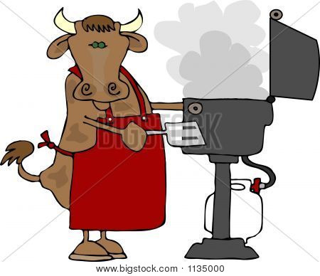 this illustration depicts a cow wearing an apron and cooking on a propane barbecue. stock photo