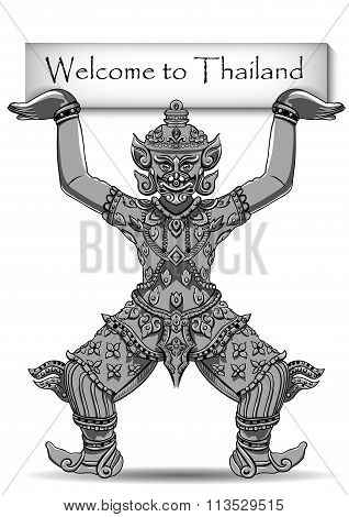 Rakshasa Thai statue. Black outlines isolated on white background with text. Indian, Arabic, Islamic, African, Hindu, Thai, ottoman motifs. Ethnic, tattoo art, spiritual boho design. EPS stock photo
