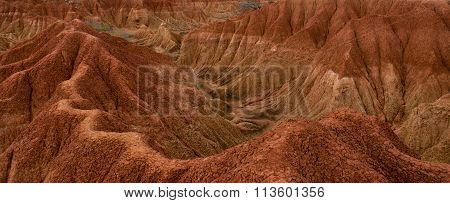 Cliff with cactus and valley of red orange sand stone rock formation in hot desert Tatacoa, Huila in Colombia stock photo