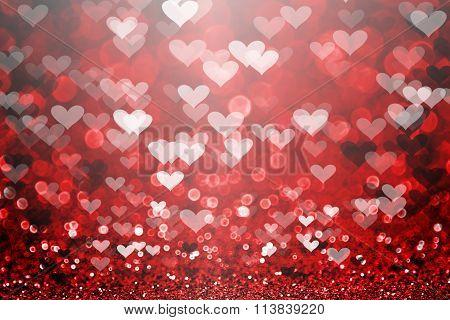 Red Valentine's Day glitter sparkle heart background stock photo