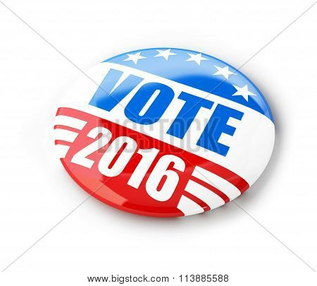 Vote election campaign badge button for 2016. 3d Illustrations on a white background stock photo