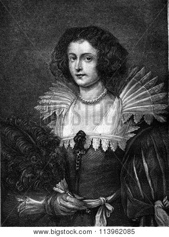 A portrait by Van Dyck, vintage engraved illustration. Magasin Pittoresque 1869.