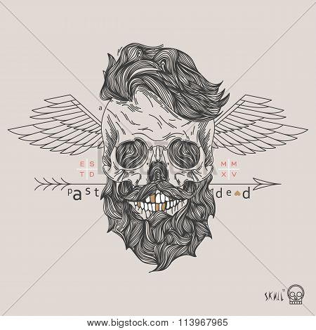Thin line skull label. Retro vector design graphic element badge emblem logo insignia sign identity logotype poster. Stroke hipster illustration with typographic for t-shirt prints. stock photo
