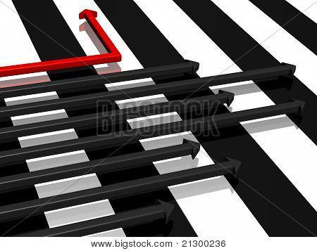The life is alternation of black and white strips. And it can be possible to change the life so that to move only on a white strip? stock photo