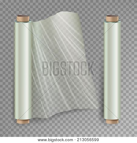 Roll Of Wrapping Stretch Film Vector. Opened And Closed Polymer Packaging. Cellophane, Plastic Wrap. Isolated On Transparent Background stock photo