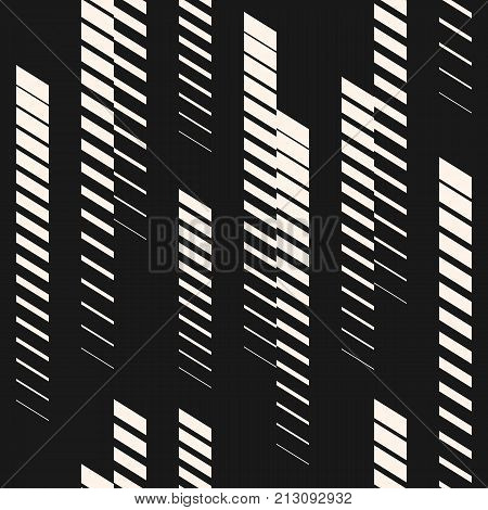 Abstract geometric seamless pattern with vertical fading lines, tracks, halftone stripes. Extreme sport style illustration, urban art. Trendy black white graphic background texture. Sport pattern. Geometric pattern. Lines pattern. Extreme pattern.