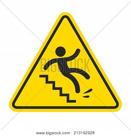 Slippery stairs warning. Yellow triangle symbol with stick figure man falling on stairs. Workplace safety and injury vector illustration. stock photo