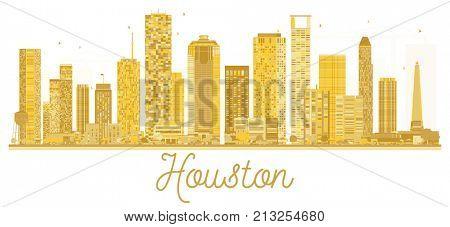 Houston USA City skyline golden silhouette. Business travel concept. Houston Cityscape with landmarks. stock photo