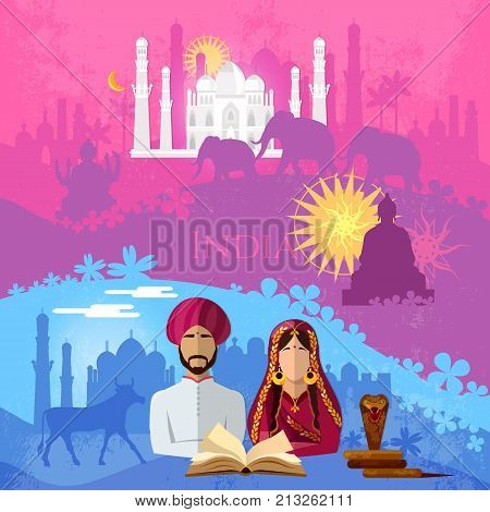 Travel to India. Culture traditions attractions and people of India. Taj mahal elephants saris gods Hinduism. illustration of India background set