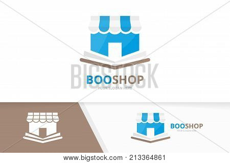 Vector book and store logo combination. Novel and market symbol or icon. Unique bookstore, library and shop logotype design template.