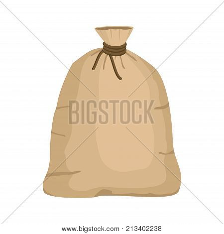 Big knotted sack full isolated on white background. Brown textile bag of potatoes or grain. Canvas sack closeup vector illustration. stock photo