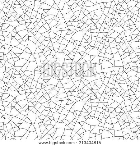 Craquelure, seamless linear pattern. Stylish texture with repeating lines randomly. Grunge texture, consisting of fine cracks on the glazed surface. Vector stock photo