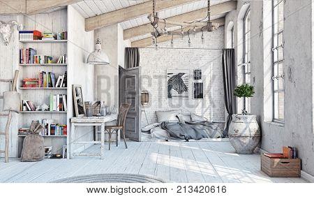Scandinavian style interior. Bedroom attic. 3d rendering stock photo