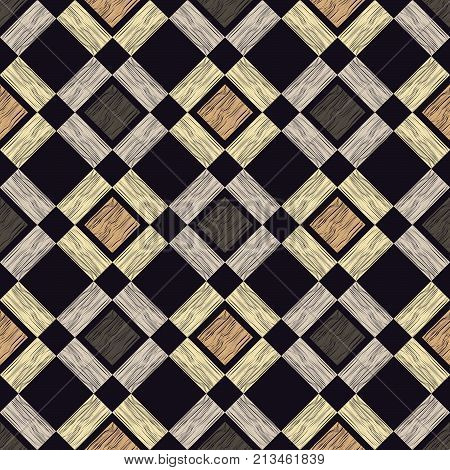 Seamless geometric background. Brown floor with wooden texture. Scribble texture. Textile rapport. stock photo
